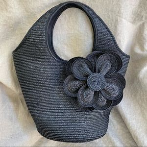 Kate Spade New York Black Straw Lawn Party Tote